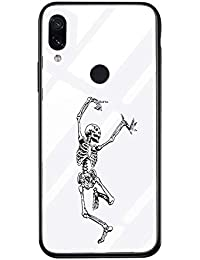 Suhctup Carcasa de Cristal Templado de Dibujos Lindo Compatible con Xiaomi Mi Note 10 Lite Funda Vidrio Templado Transparante Clear Antichoques Cover Suave Slicona Gel TPU Cuadro Case,Cráneo