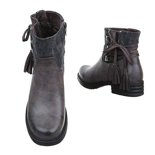 Damen Schuhe Leicht Gefütterte Schlupfstiefel Reißverschluss Komfort Stiefeletten Stiefeletten Blockabsatz Grau