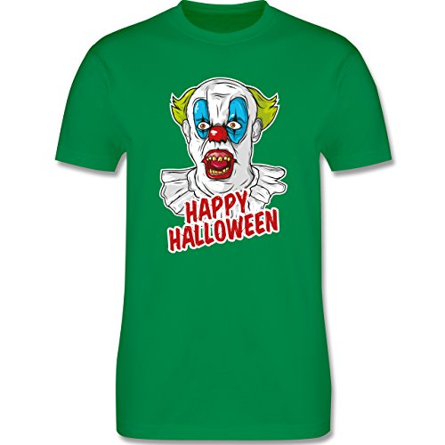 Shirtracer Halloween - Happy Halloween - Clown - Herren T-Shirt Rundhals Grün