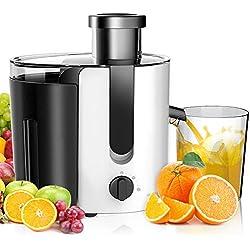 Aigostar Grape 30JDA - Entsafter (65MM Breiter Mund,1.4L Fruchtfleischbehälter und 500ml Saftbehälter, 400W, Edelstahl Trennscheiben,Juicer 2 Geschwindigkeiten)