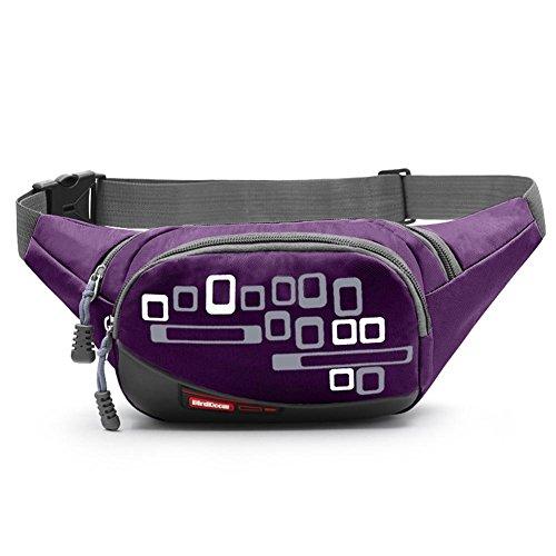 Borsa multifunzionale sportiva all'aperto, borsa a vita resistente all'acqua, pacchetto alpinismo, pacco sportivi, paio di petto, paio di uomini e donne, tasche di cassa, pacco cellulare , orange Purple