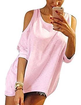 Hibote Mujer Camisas Bat Camisa Mujeres Top Sling Off Shoulder Tops Casuales de Ajuste Holgado Camiseta Blusas...