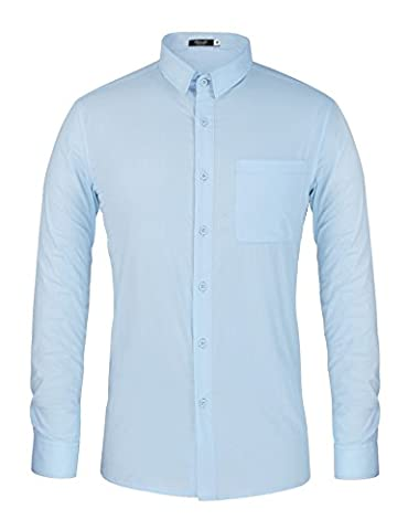 Hasuit Homme Chemise Basic Business Slim Fit Solid Dress Shirt - Bleu Clair - M