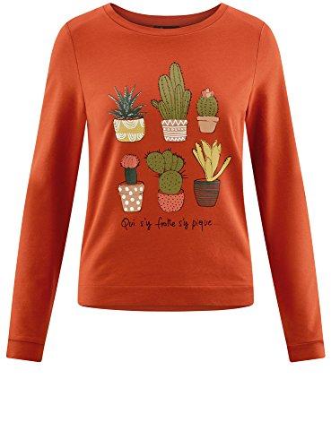 oodji Ultra Damen Baumwoll-Sweatshirt mit Aufdruck Rot (3119P)