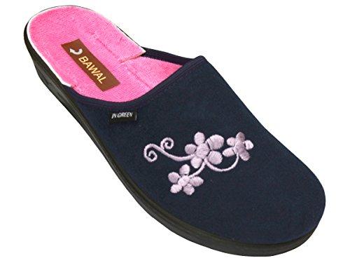 Bawal Damen Pantolette Sandalen Komfort Baumwolle Hausschuhe Pantoffeln Arbeit Modell BD70 Blau
