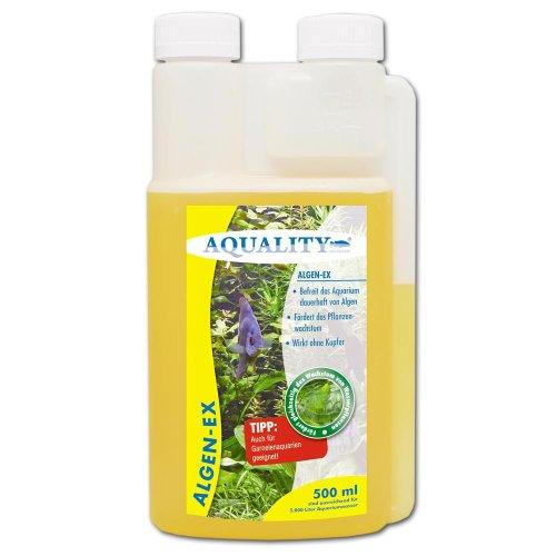AQUALITY Algen-EX 500 ml (Erstklassiger Algenvernichter und Algenmittel für Ihr Aquarium - Befreit Sie von Fadenalgen, Bartalgen, Kieselalgen oder Blau- und Schmieralgen)