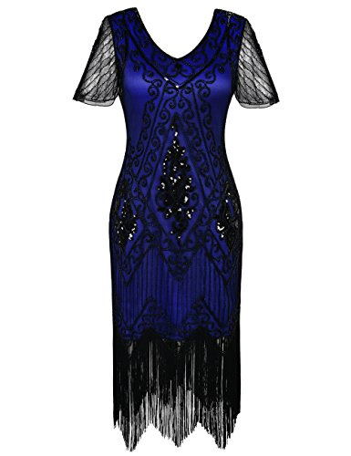 PrettyGuide Damen 1920er Charleston Kleid Pailetten Cocktail Flapper Kleid Mit Ärmel,  Small, Blau