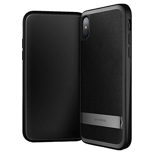 Étui iPhone X, série X-Doria Stander, cadre en aluminium, étui en cuir avec support caché pour Apple iPhone X - L'eau bleue Noir