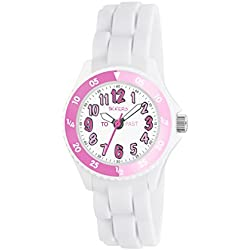 Tikkers Girl's Quartz Watch with White Dial Time Teacher Display and White Silicone Strap TK0117