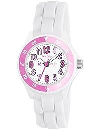 Tikkers Mädchen Quarz-Uhr mit weißem Zifferblatt Analog-Anzeige und Weiß Silikon Strap tk0117
