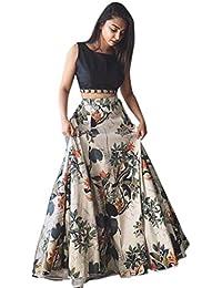 9dac1d9d9 fashionable_village Girl's Banglori Satin Silk Semi-Stitched Lehenga Choli  (White, 17-20