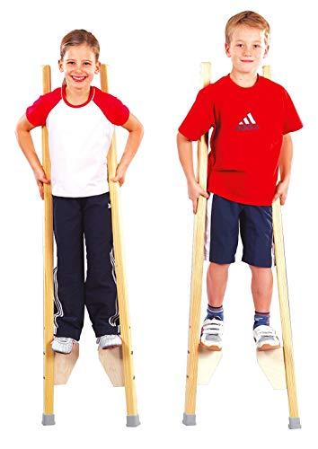 Sport-Thieme Kinderstelzen | Stelzen für Kinder bis 150 cm | Sicher, Stabil, Höhenverstellbar | Belastbar bis 90 kg | Ab 6 Jahren | Massives Buchenholz | Markenqualität