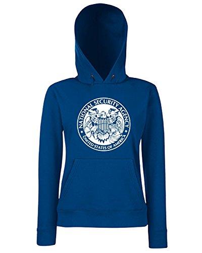 T-Shirtshock - Sweats a capuche Femme FUN0153 06 18 2013 NSA Peeping Eagle T SHIRT det2 Bleu Navy