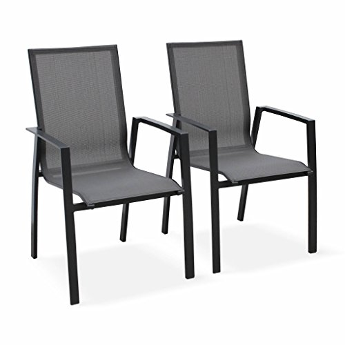Alice's Garden Lot DE 2 Fauteuils - Washington Anthracite - en Aluminium Anthracite et Textilène Gris foncé, empilables