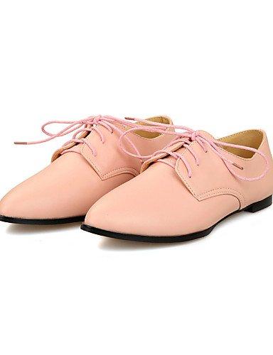 ZQ Scarpe Donna - Stringate - Tempo libero / Ufficio e lavoro / Casual - Comoda / A punta / Chiusa - Piatto - Finta pelle -Nero / Rosa / , pink-us10.5 / eu42 / uk8.5 / cn43 , pink-us10.5 / eu42 / uk8. white-us9.5-10 / eu41 / uk7.5-8 / cn42