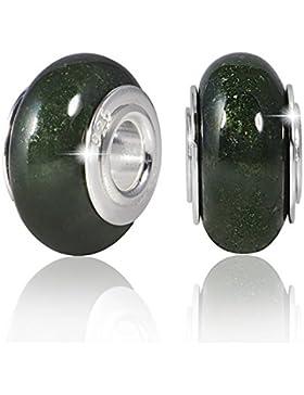 MATERIA Schmuck Edelstein Beads Moosachat grün - 925 Silber Bead Naturstein mit breiter Hülse - deutsche Wertarbeit...