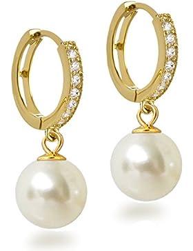 Vergoldete Ohrringe aus 925 Silber Creolen mit Zirkonia und 10mm Perle rund cremeweiß