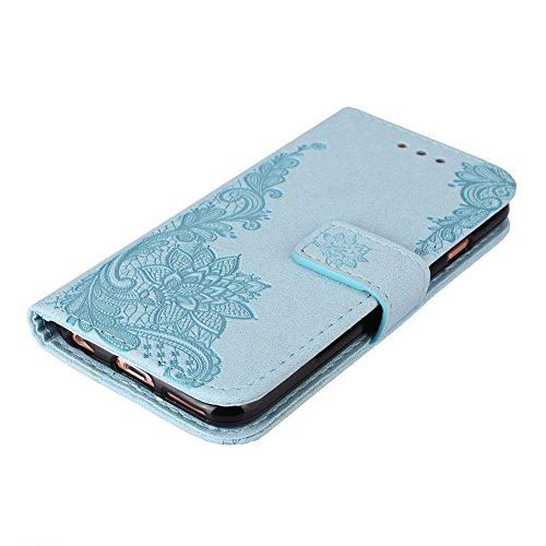 KM-WEN® Schutzhülle für Apple iPhone 7 (4,7 Zoll) Bookstyle Blitzpulver Pfau Blumen Muster Magnetverschluss PU Leder Wallet Case Flip Cover Hülle Tasche Schutzhülle mit Standfunktion Kartenfächer für  Blau