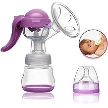 Erty Manual Breast Pump - Bomba de mano leche breastpump sin BPA de lactancia materna de calidad alimentaria de silicona con tapa - colector de leche portátil para bebé la lactancia