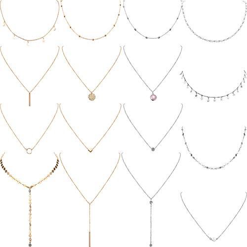 Yaomiao 16 Stück Geschichteten Choker Halskette Einstellbar Anhänger Halskette Mond Pailletten Choker Mehrschichtige Kette Halskette Set für Damen Mädchen (Silber und Gold) (Halskette Sets)