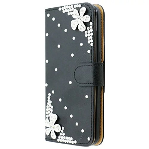 Cover per iPhone 6S Plus,Diamante Custodia Pelle per iPhone 6 Plus,Leeook Lusso Creativo 3D Fatto a Mano Bling Strass Sparkel Fiore Ragazza di Ballo Modello Libro Premium PU Portafoglio Snap-on Magnet Fiore di Foglia,Nero