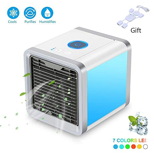 GHONLZIN Air Conditioner, Mini 3 in 1 Personal Air Cooler Air Purifier Humidifier and Purifier, USB Desk Fan with 3 Speeds and 7 Colors LED Night Light (1 #)