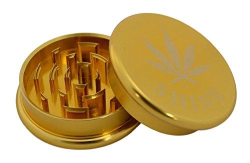 Shine® 62mm Premium Qualität Kräuter Tabak Kräuter Schleifer 2 Teile Brecher viele Farben (GOLD)