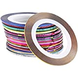 AIUIN 30pcs 30 Colores Pegatinas de Uñas Tiras de Alambre Herramientas de Uñas Franja Nail Art Decoración Sticker DIY Uñas Color Aleatorio