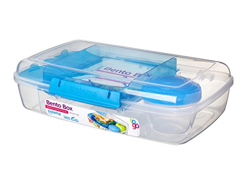 """Sistema 5-fach unterteilte XL Lunchbox """"Bento Box"""" - 1760 ml Vesperdose inklusive Becher mit Schraubverschluss 28 x 17,5 x 8 cm (B x T x H) (Transparent-Blau)"""