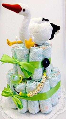 Elfenstall Windeltorte/Pamperstorte mit Schnullerkette/Schnuller und vielen Extras als tolles Geschenk zur Geburt oder Taufe auf Wunsch mit Namen des Babys Klapperstorch Storch