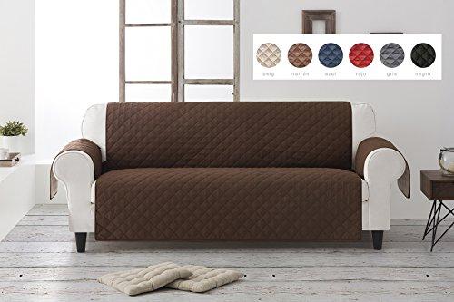 Textil-home salvadivano trapuntato copridivano dante 3 posti reversibile. colore marrone