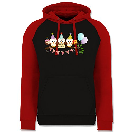 ulen Happy Birthday - XL - Schwarz/Rot - JH009 - Baseball Hoodie (Baseball-happy Birthday)