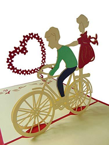 Pu13, Stilvolle 3D Pop Up Karte mit Umschlag zur Hochzeit, filigranes Kunstwerk als Hochzeitskarte, als Glückwunschkarte oder zur Einladung als Einladungskarte, Grußkarte, Glückwunschkarte