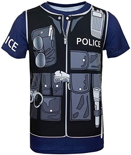 (Cosavorock Polizei Kostüm Uniform T-Shirts Herren (L, Marineblau))