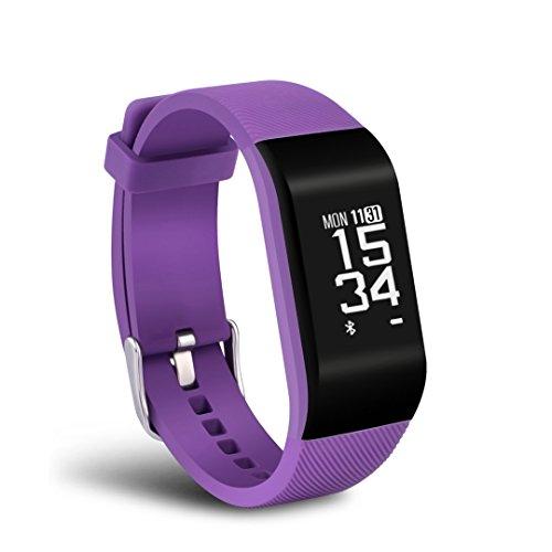 haotop Fitness Tracker HR, Activity Tracker Uhr mit Herzfrequenz Monitor, Smart Band, wasserdicht, mit Schrittzähler, Kalorienzähler, Schrittzähler Armbanduhr für Kinder Damen und Herren, Android & iOS (lila)