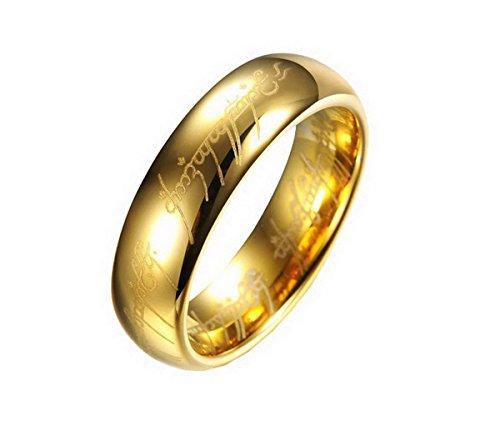 Schmuck Poliertes Gold Überzogenes Hartmetall Stahl Herren Hochzeit Ring Finger Band