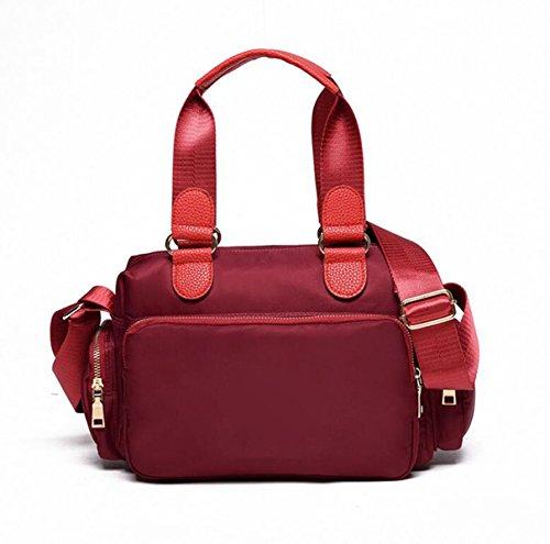 Multi-tasca Del Sacchetto Di Nylon Secchio Modo Semplice Femminile Spalla Portatile Panno Casuale Diagonale Red1
