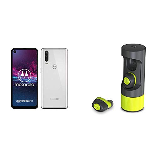 Motorola One Action, 128 GB Espandibili, Tripla fotocamera, Dual Sim, Android 9 Pie, Bianco + VerveOnes Music Edition Lime auricolari wireless