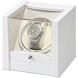 CKB Ltd® WHITE LUXURY Automatic Single Watch Winder with Clockwise or Anticlockwise Switch - 1 Timer Mode Premium Silent Motor Movement - Exclusive High Gloss White Finish