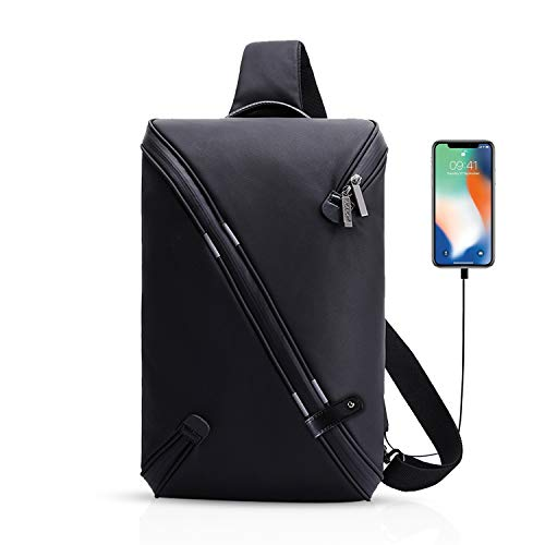 FANDARE Mode Sling Bag Umhängetasche Messenger Bag Hiking Bag Crossbody Bag Rucksack Wasserdicht Polyester Schwarz