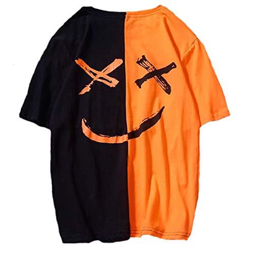 rt Crew Neck Smiley T-Shirt (Orange Schwarz, S) ()