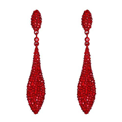 Flyonce Damen Österreich Kristall Doppel Waterdrop Durchbohrte Ohrringe Rubin Farbe Rot-Ton (Ohrringe Rubin Rose Gold)