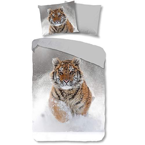 Good Morning! Bettwäsche 2424 Snow Tiger Grau Flanell, Größe:135x200 cm + 80x80 cm (Tier Zeug)