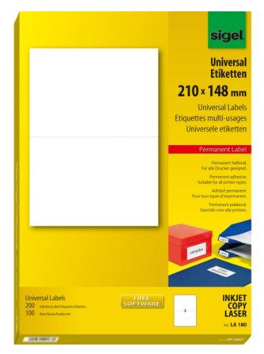 Sigel LA180 Universal-Etiketten weiß, 210 x 148 mm (A5), 200 Etiketten = 100 Blatt, für Paket-Onlinefrankierung geeignet