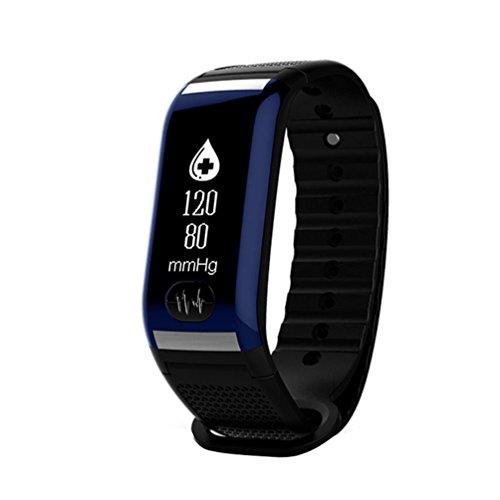 LCLrute Mode Hohe Qualität Blutsauerstoffsättigung Druck Pulsmesser Schrittzähler Smart Watch Armband Bluetooth Kopfhörer (Blau)