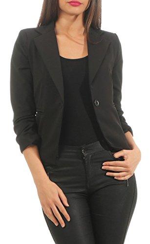 Eleganter Damen Blazer Jacke aus Baumwolle für Business Freizeit Party (632), Farbe:Schwarz, Kostüme & Blazer für Damen:42 / XL