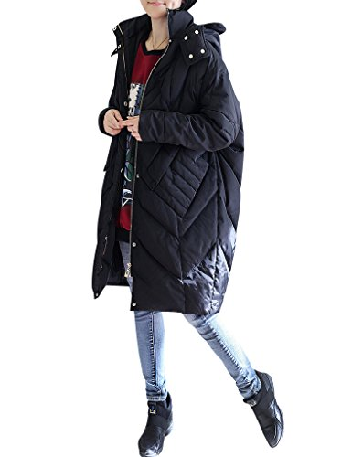 7c70e24380ed ... Youlee Damen Winter Reißverschluss Plus Size Mantel mit Kapuze Schwarz