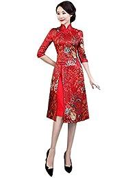 c68001bc73b0 Meijunter Qipao Cinese Cheongsam per Donna - Abito da Sera in Raso Vintage  Elegante in Stile