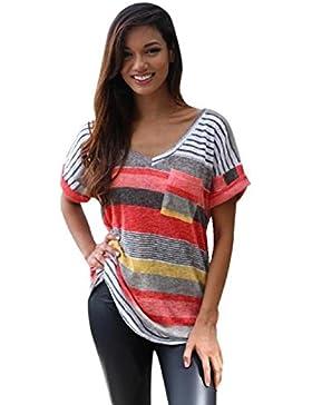 KanLin1986-Ropa Camisetas Mujer Verano Tops Mujer Verano Suelta Camisetas de Manga Corta Casual Cami Tops Blusa...