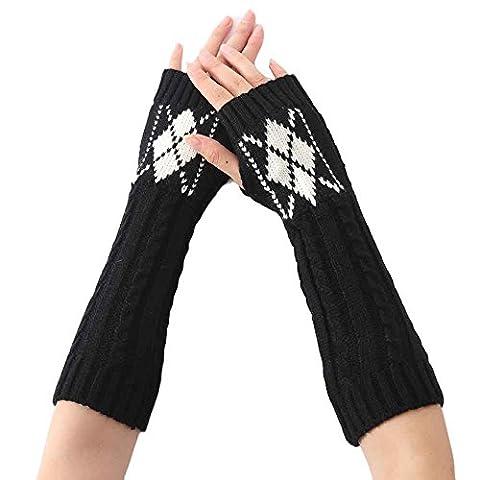 Rosennie Damen Gestrickt Arm Hülse Fingerlos Handschuhe (Schwarz)